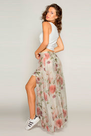 Ivory Floral Asymmetrical Maxi Skirt by Lavender Brown 002
