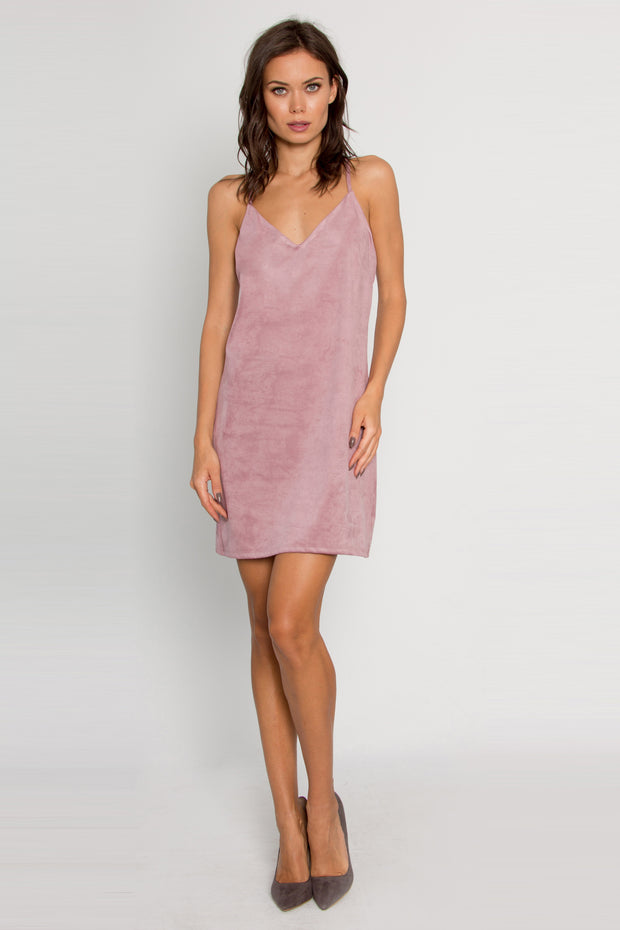 Pink Sleeveless Vegan Suede Dress by Lavender Brown 001