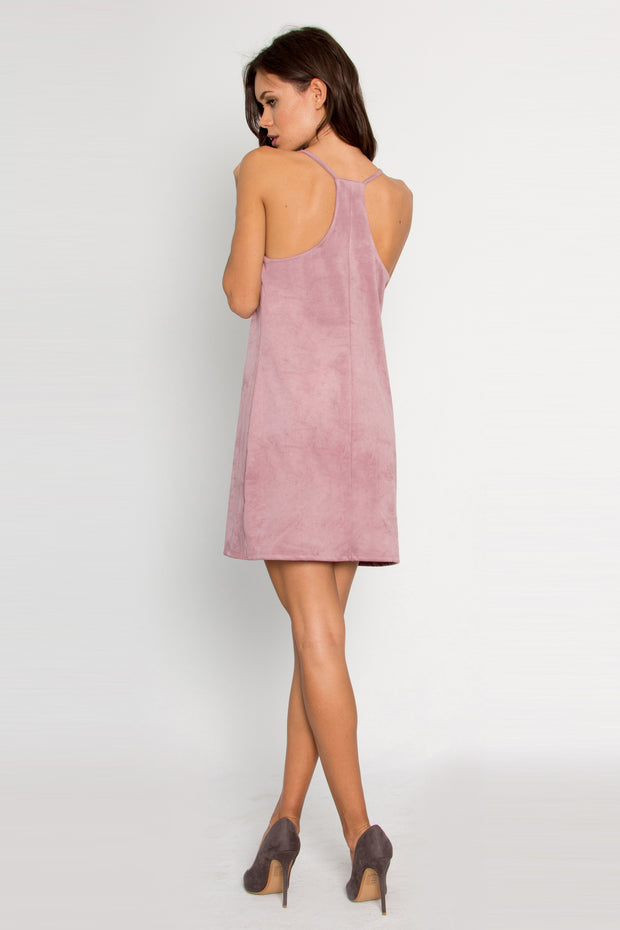 Pink Sleeveless Vegan Suede Dress by Lavender Brown 002