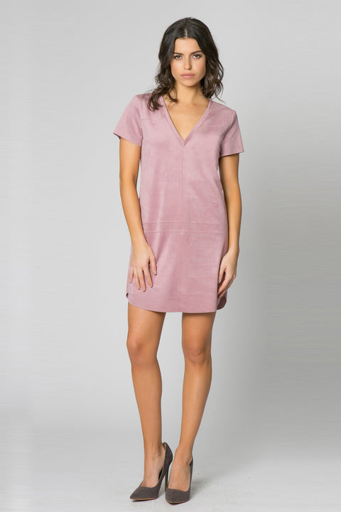 Pink Blush Sleeve Vegan Suede Dress by Lavender Brown 001