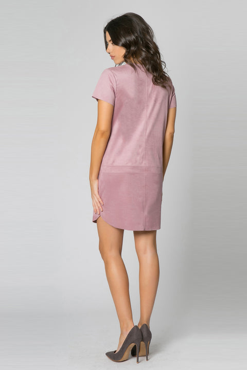 Pink Blush Sleeve Vegan Suede Dress by Lavender Brown 002