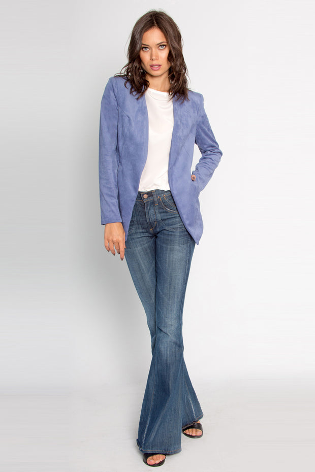 Greek Blue Open Front Suede Blazer by Lavender Brown 001