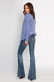 Greek Blue Open Front Suede Blazer by Lavender Brown 002