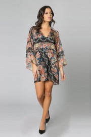 Black Bell Sleeve Floral Silk Chiffon Dress by Lavender Brown 001