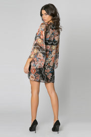 Black Bell Sleeve Floral Silk Chiffon Dress by Lavender Brown 002