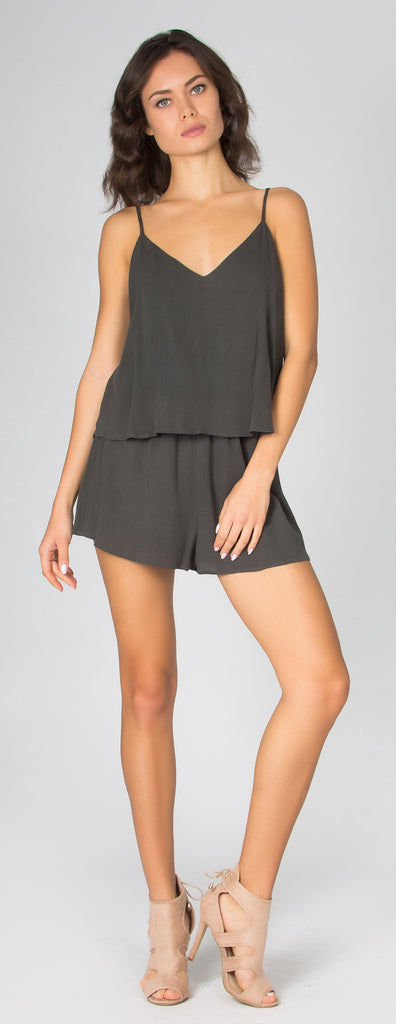 Charcoal Sandwashed Overlay Romper by Lavender Brown - 1