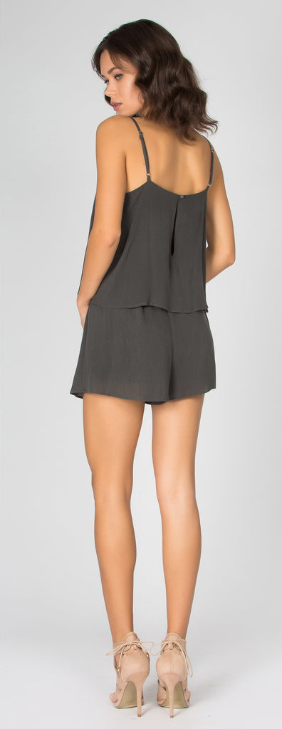 Charcoal Sandwashed Overlay Romper by Lavender Brown - 2