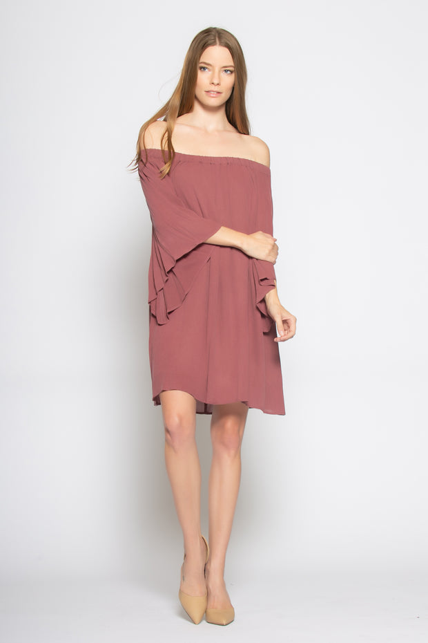 Burgundy Bell Sleeve Off Shoulder Tunic Dress by Lavender Brown 001