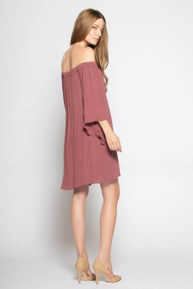 Burgundy Bell Sleeve Off Shoulder Tunic Dress by Lavender Brown 002