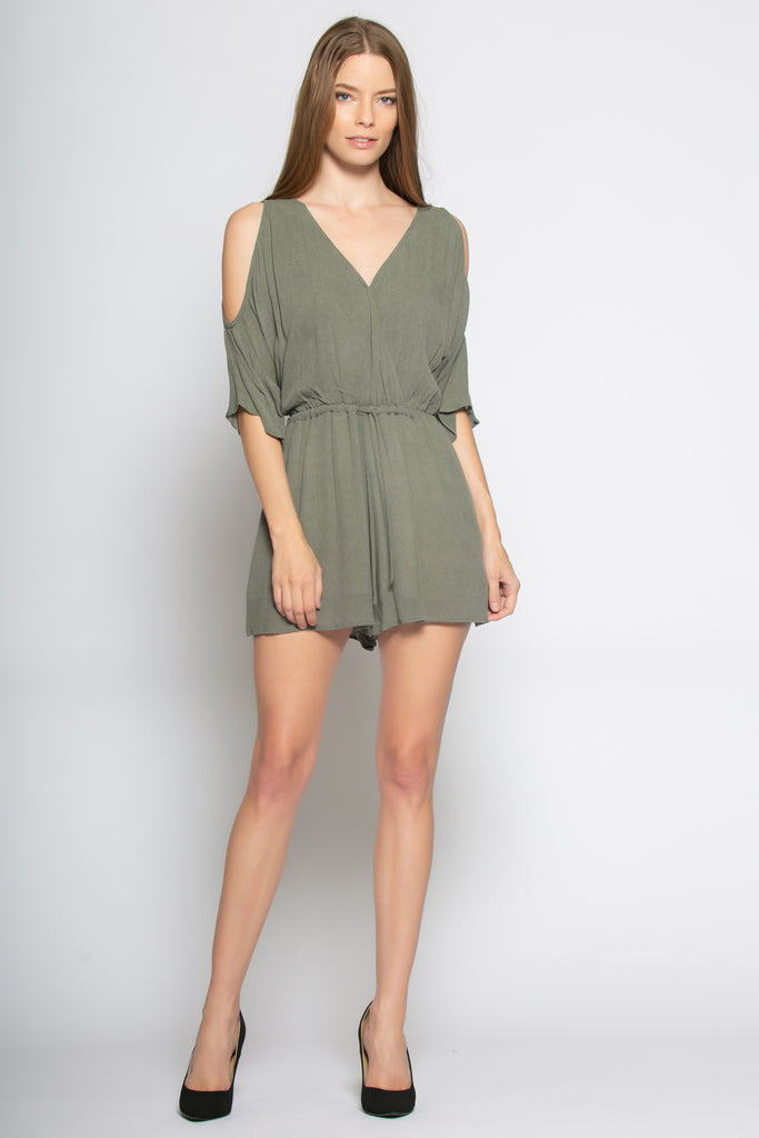 Olive Cold Shoulder Wrap Romper by Lavender Brown - 1