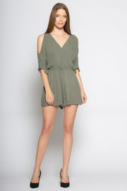 Olive Cold Shoulder Wrap Romper by Lavender Brown 001