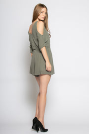 Olive Cold Shoulder Wrap Romper by Lavender Brown 002