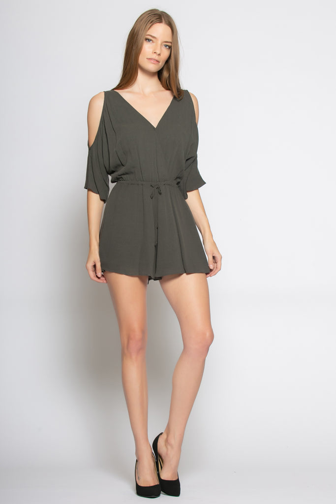Charcoal Cold Shoulder Wrap Romper by Lavender Brown - 1