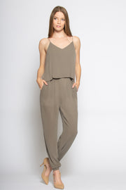 Washed Taupe Sleeveless Overlay Jumpsuit by Lavender Brown 001