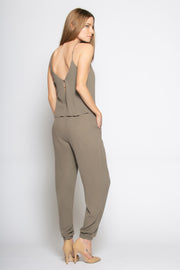 Washed Taupe Sleeveless Overlay Jumpsuit by Lavender Brown 002