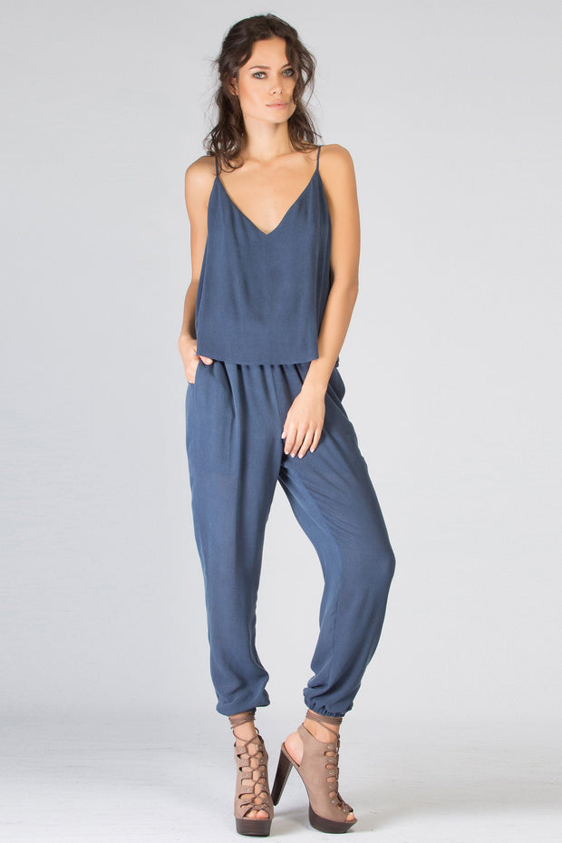 Washed Navy Sleeveless Overlay Jumpsuit by Lavender Brown 001
