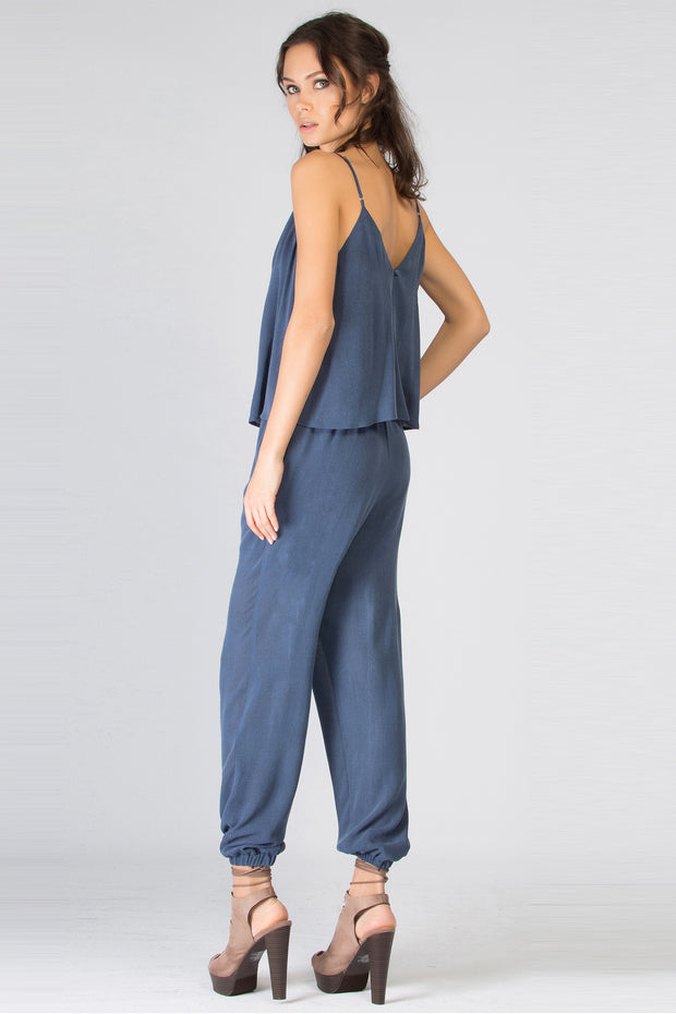 Washed Navy Sleeveless Overlay Jumpsuit by Lavender Brown 002