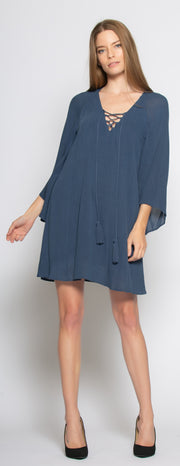 Blue Bell Sleeve Lace-Up Shift Dress by Lavender Brown 002