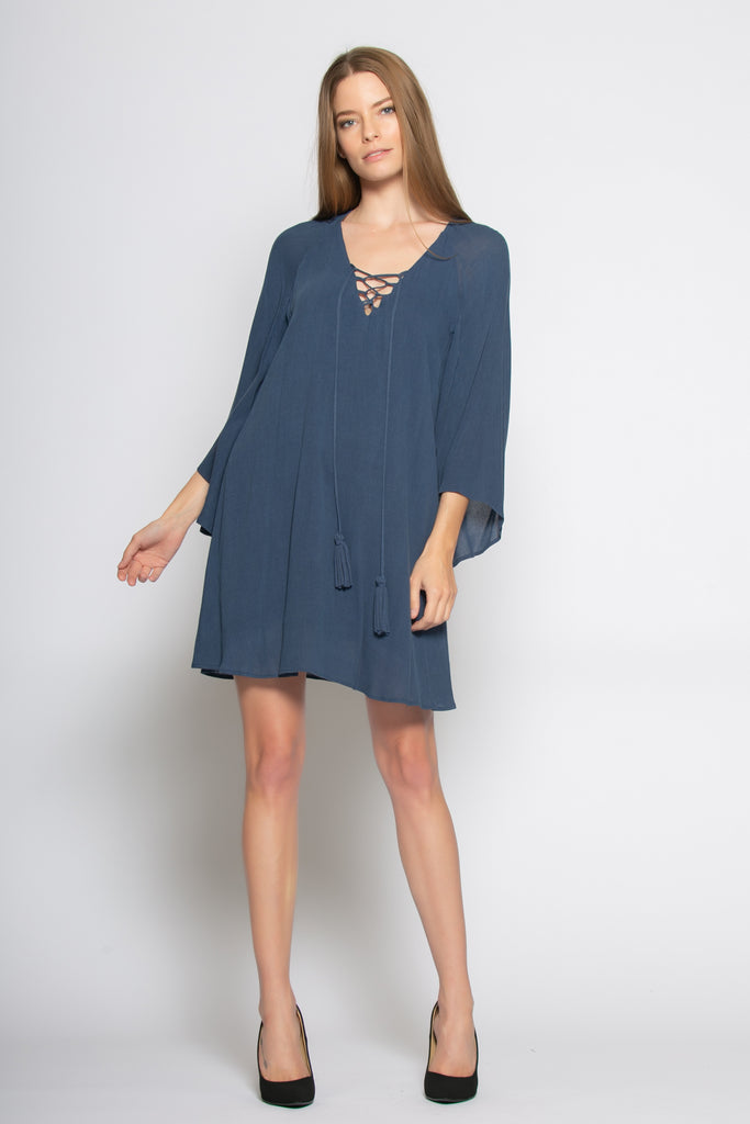Blue Bell Sleeve Lace-Up Shift Dress by Lavender Brown - 1
