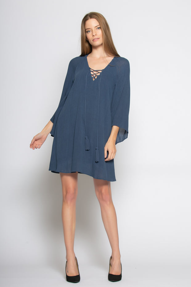 Blue Bell Sleeve Lace-Up Shift Dress by Lavender Brown 001