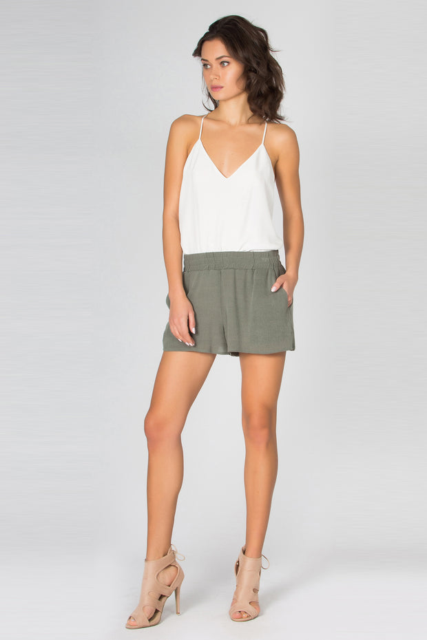 Olive Sandwashed Pull-On Shorts by Lavender Brown 001
