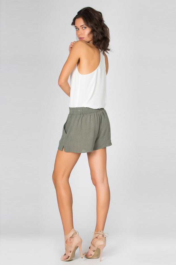 Olive Sandwashed Pull-On Shorts by Lavender Brown 002