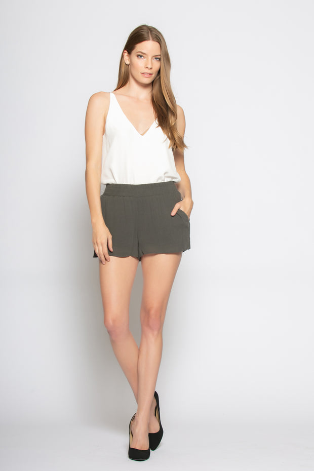 Dark Charcoal Sandwashed Pull-On Shorts by Lavender Brown 001
