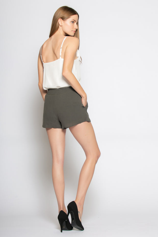 Dark Charcoal Sandwashed Pull-On Shorts by Lavender Brown 002