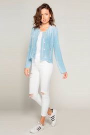 Light Blue Rayon Button Down Jacket by Lavender Brown 001