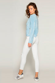 Light Blue Rayon Button Down Jacket by Lavender Brown 002
