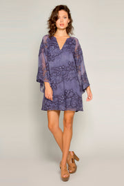 Navy Bell Sleeve Embroidered Floral Shift Dress by Lavender Brown 001