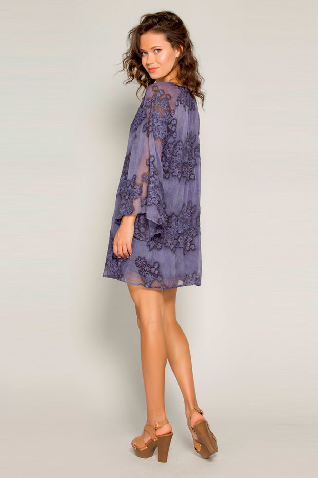 Navy Bell Sleeve Embroidered Floral Shift Dress by Lavender Brown 002