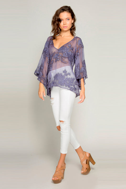 Navy Bell Sleeve Embroidered Floral Blouse by Lavender Brown 001