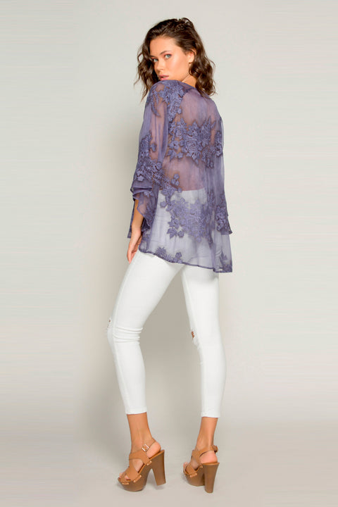 Navy Bell Sleeve Embroidered Floral Blouse by Lavender Brown 002