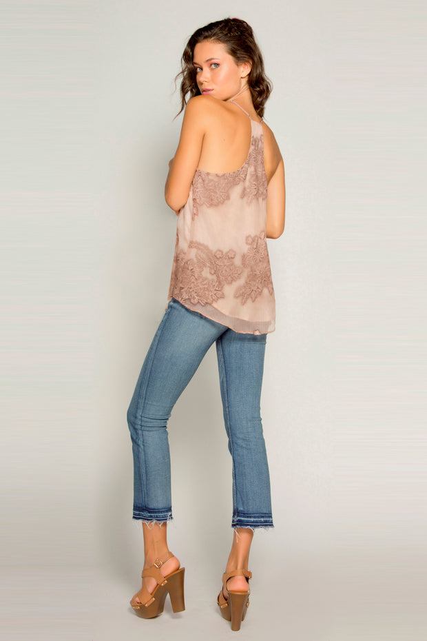 Blush Racerback Floral Embroidered Cami Tank Top by Lavender Brown 002