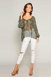 Black Scoop Neck Floral Blouse by Lavender Brown 001