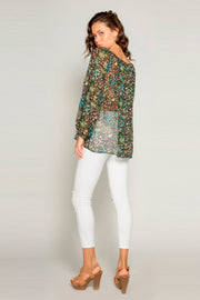 Black Scoop Neck Floral Blouse by Lavender Brown 002