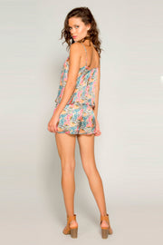 Orange Sleeveless Overlay Silk Floral Romper by Lavender Brown 002
