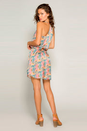 Orange Empire Waist Silk Floral Mini Dress by Lavender Brown 002