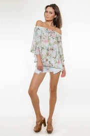 Ivory Off The Shoulder Floral Top by Lavender Brown 001