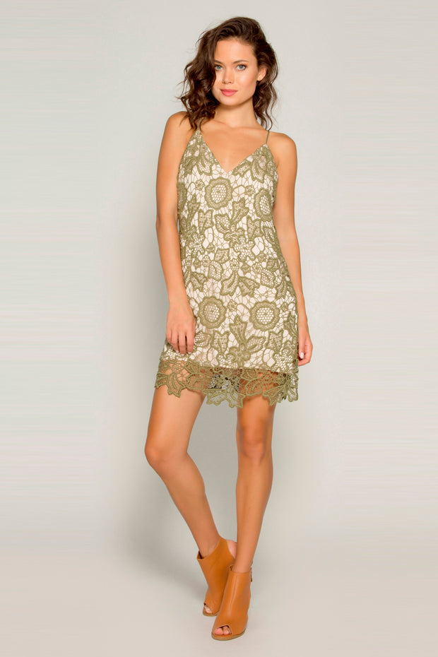 Olive Cotton Crochet A-Line Lace Dress by Lavender Brown 001