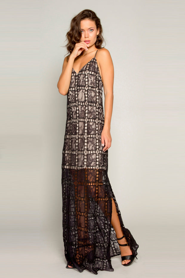 Black Crochet Lace Maxi Dress by Lavender Brown 001