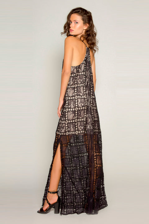 Black Crochet Lace Maxi Dress by Lavender Brown 002