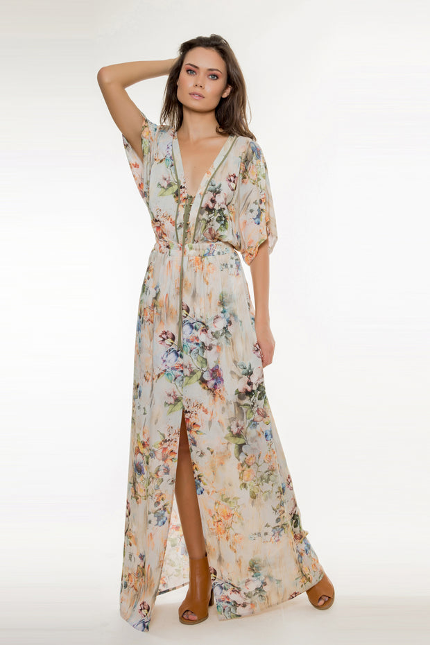 Ivory Lace Up Floral Maxi Dress by Lavender Brown 001