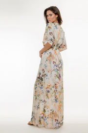 Ivory Lace Up Floral Maxi Dress by Lavender Brown 002