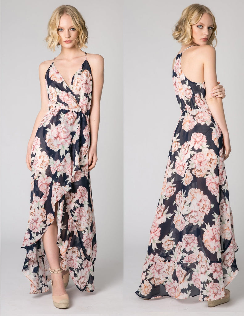 Navy Sleeveless Floral Wrap Maxi Dress by Lavender Brown