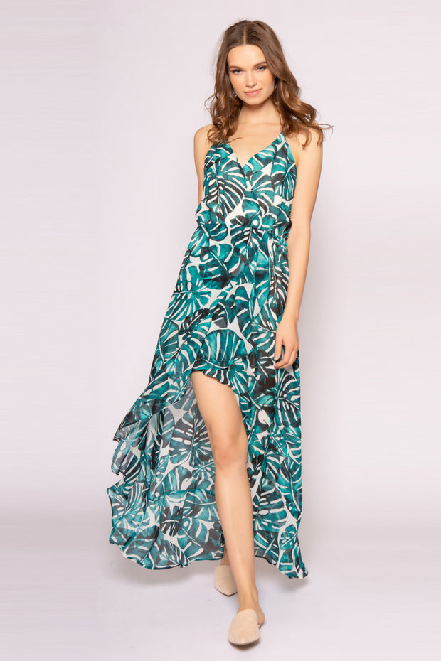 Green Sleeveless Racerback Floral Maxi Dress by Lavender Brown 001