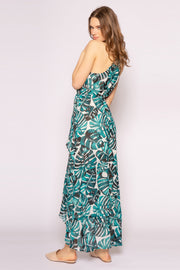 Green Sleeveless Racerback Floral Maxi Dress by Lavender Brown 002