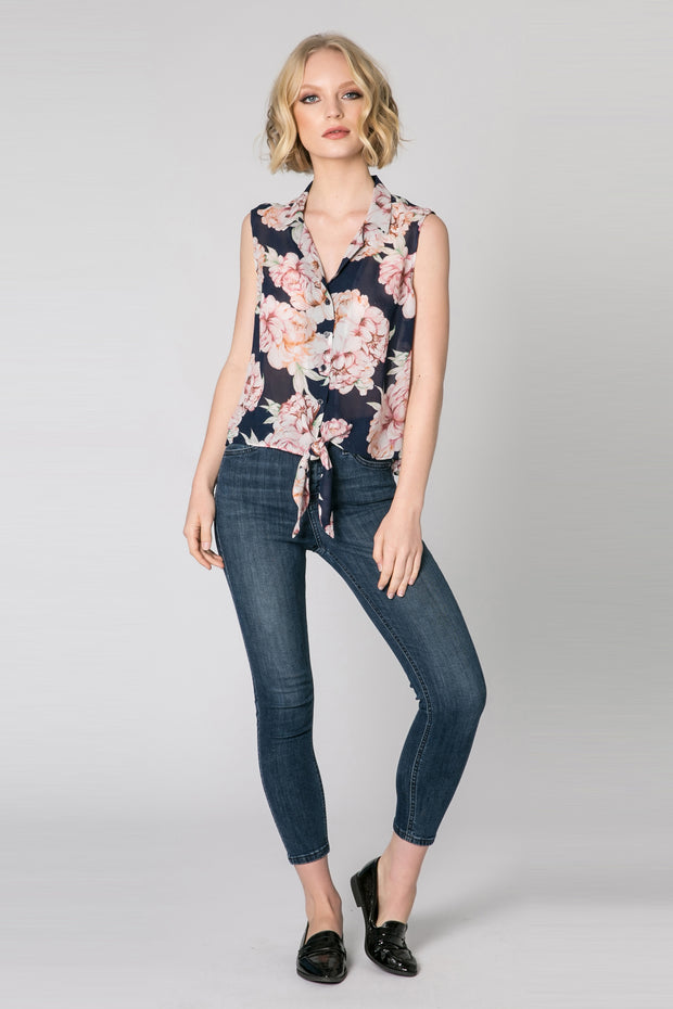 Navy Tie Waist Button Down Floral Tank Top by Lavender Brown 001