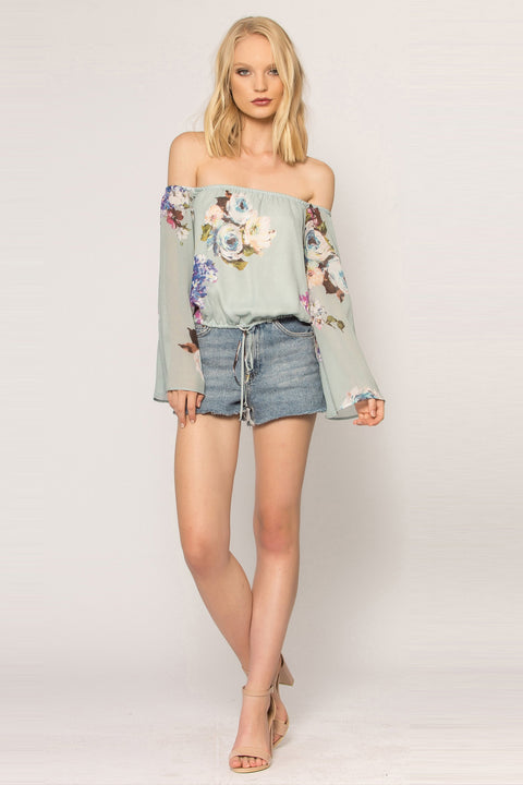 Sage Off The Shoulder Floral Blouse by Lavender Brown - 1